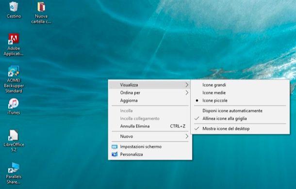 Come rimpicciolire le icone sul Desktop