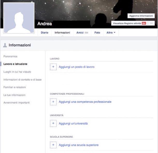 Facebook registrazione