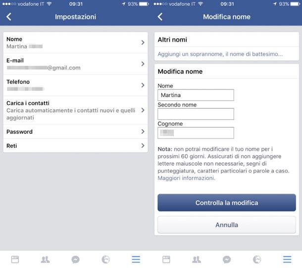 Come cambiare nome su Facebook