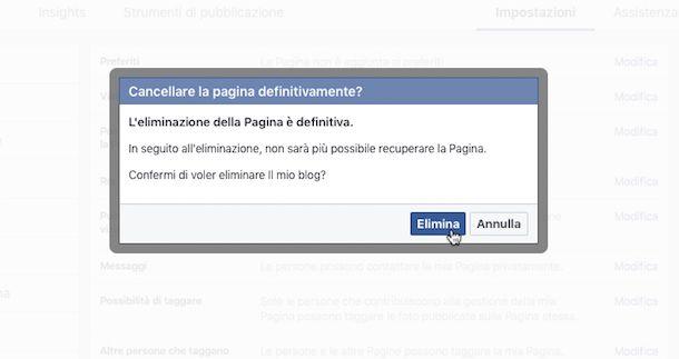 Come eliminare una pagina su Facebook