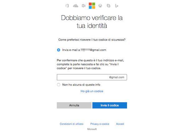 Come recuperare password Hotmail
