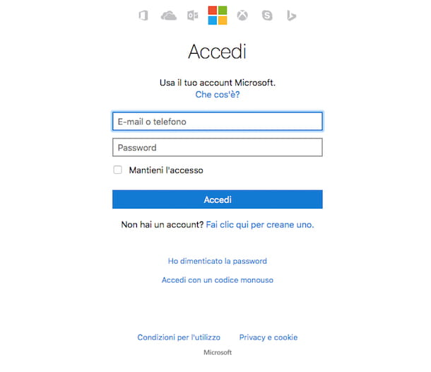 Come recuperare password Hotmail