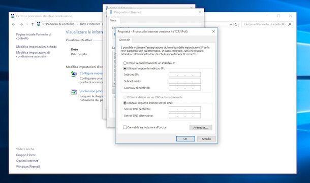 Come assegnare IP statico