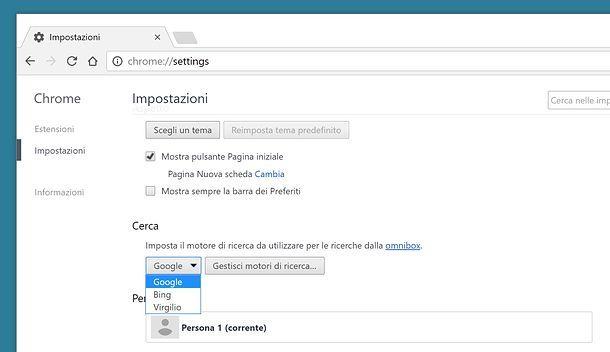 Come rimettere la pagina iniziale di Google Chrome
