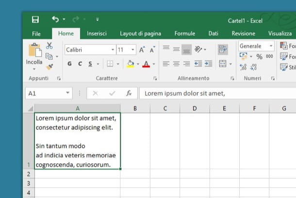Come andare a capo in una cella Excel