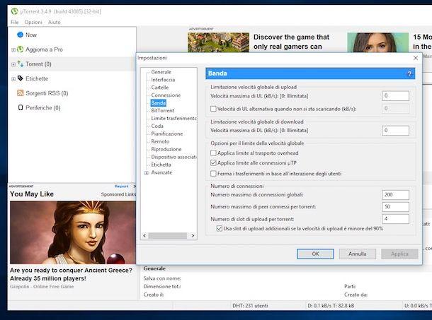 Come aumentare la velocità di uTorrent