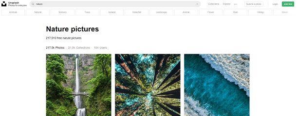 Scaricare immagini gratis da Unsplash