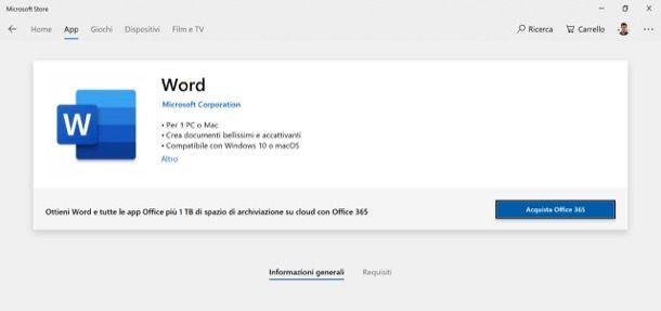 Microsoft Word sul Microsoft Store