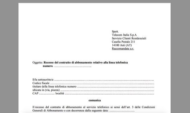 Come disdire il contratto Telecom - GuidaConsumatore