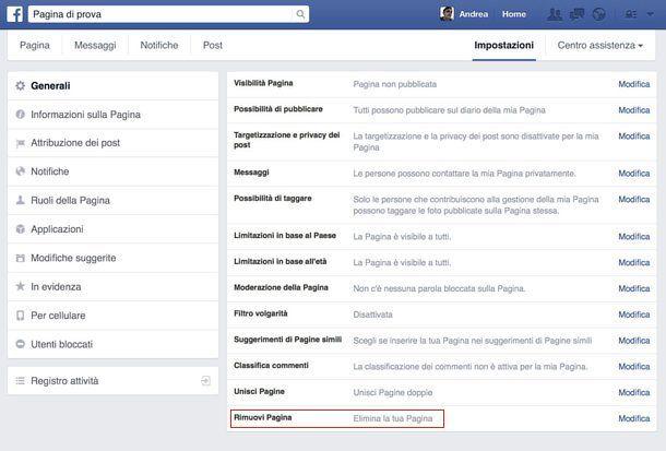 Come eliminare pagina Facebook