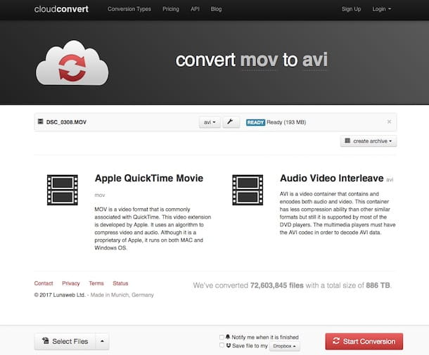 Come convertire video in AVI