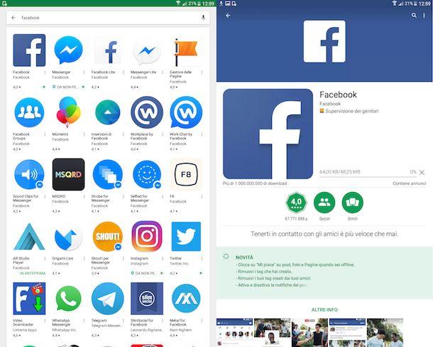 Come scaricare applicazione Facebook