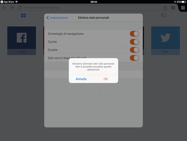 Come cancellare cronologia iPad