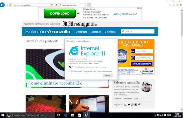 Come aggiornare Internet Explorer