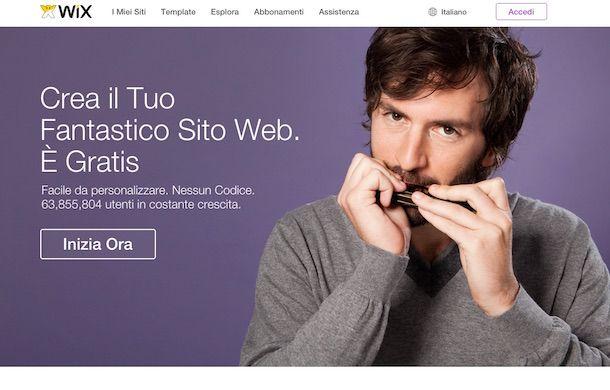 Screenshot del servizio online Wix