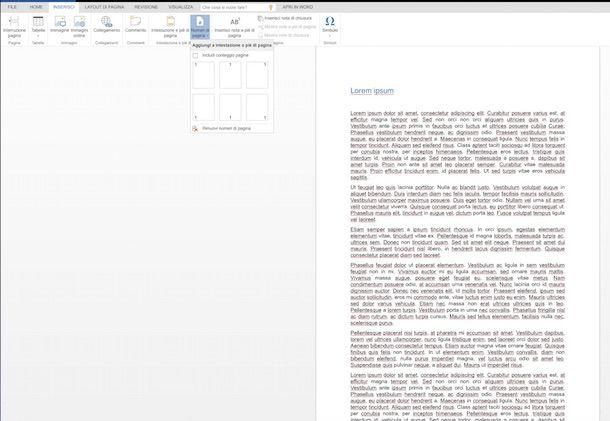Screenshot che mostra come mettere numeri di pagina Word
