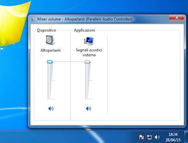 Screenshot che mostra come aumentare volume Pc su Windows 7