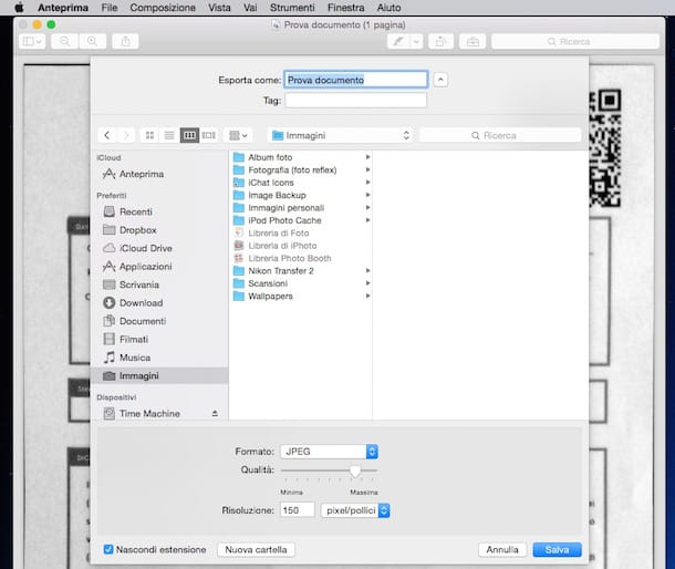 Screenshot che mostra come convertire PDF in JPG su Mac