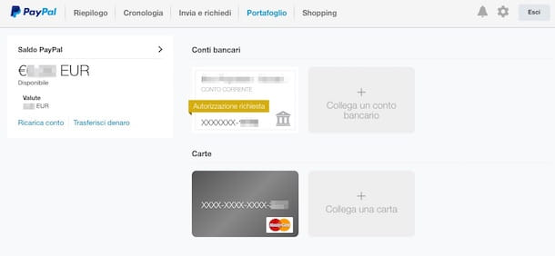 Screenshot che mostra come ricaricare Postepay dal sito PayPal