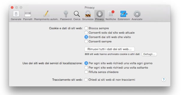 Screenshot che mostra come eliminare cookie da Safari