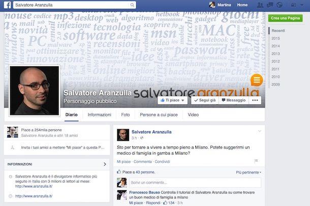 Screenshot della fanpage Facebook di Salvatore Aranzulla