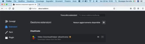 Rimuovere estensioni Firefox