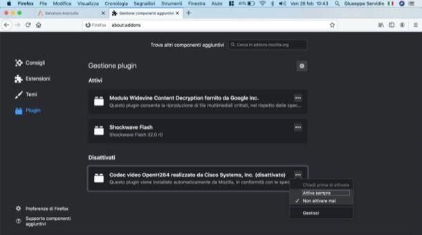 Disattivare plugin Firefox