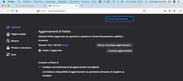 Aggiornare Firefox
