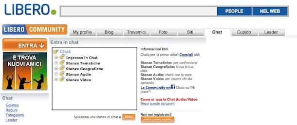 Screenshot della chat su Libero Community