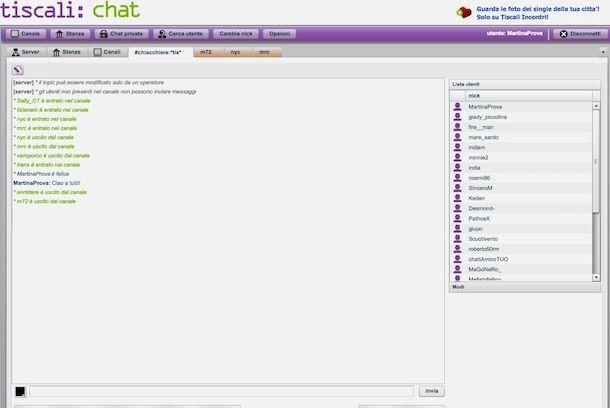 Screenshot della chat Tiscali Chat