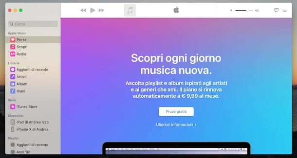 Attivare Apple Music