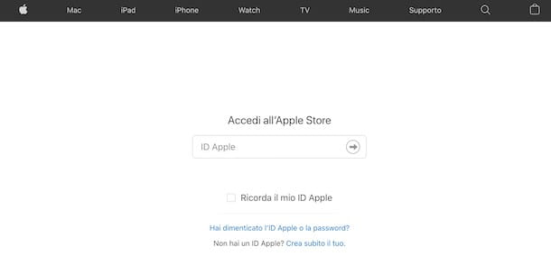 Accedere ad Apple Store