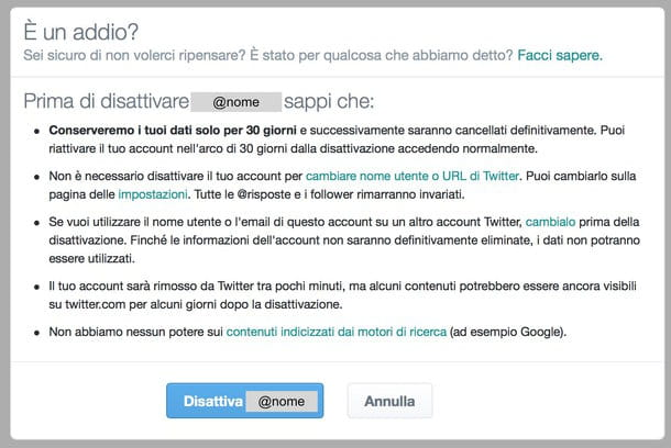 Come cancellare account Twitter