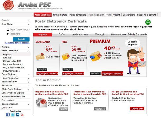 Come creare una casella di posta certificata