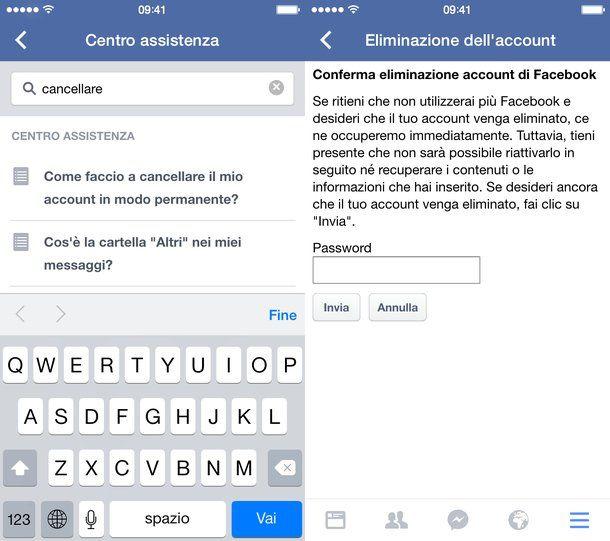 Come chiudere account Facebook