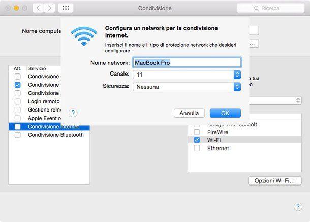 Come condividere connessione Internet