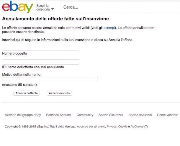 Come annullare acquisto eBay