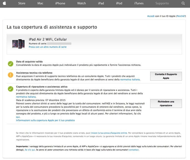 Come verificare garanzia Apple