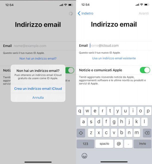 Creare indirizzo email iCloud