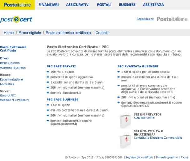 Come creare una mail PEC con Poste Italiane