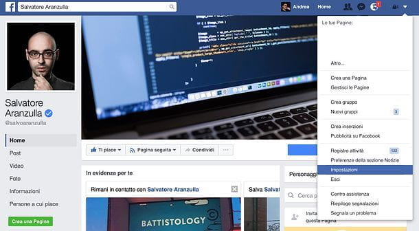 Come cambiare email Facebook