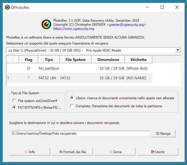 Recuperare foto Android con PhotoRec
