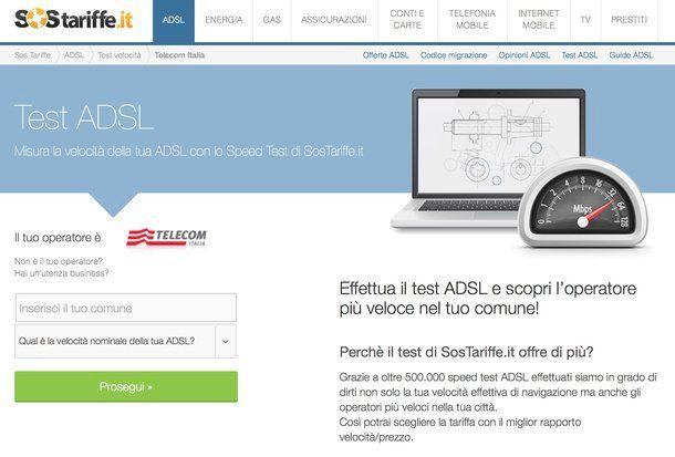 Come controllare velocità ADSL