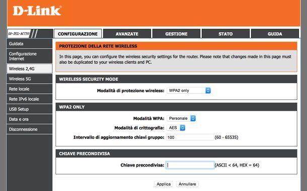 Pannello di amministrazione modem D-Link