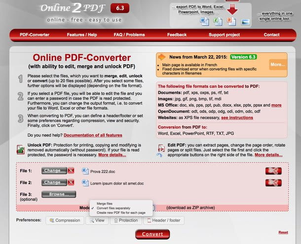 Come convertire file DOC in PDF