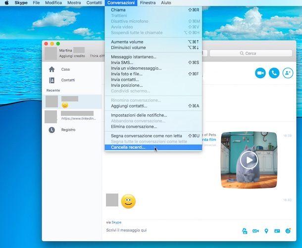 Come cancellare conversazioni Skype