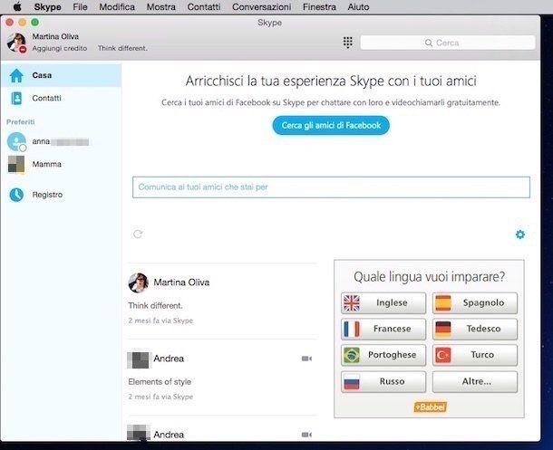Screenshot della finestra di Skype