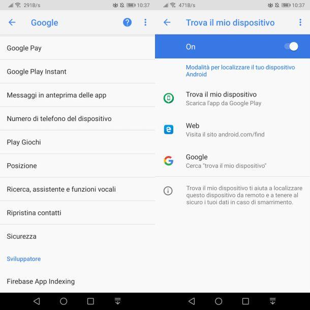 Attivazione Trova il mio dispositivo su Android