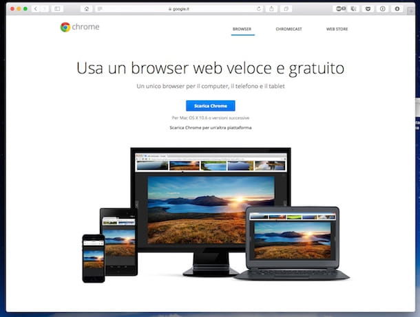 Screenshot che mostra come scaricare Chrome su Mac
