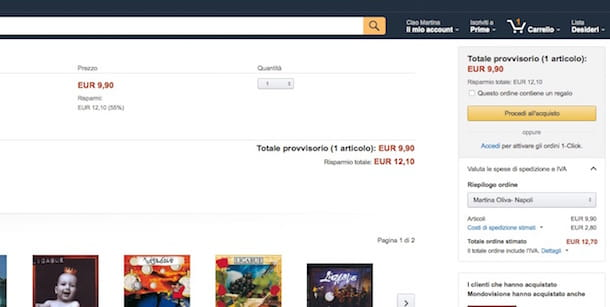 Screenshot che mostra come comprare su Amazon Italia